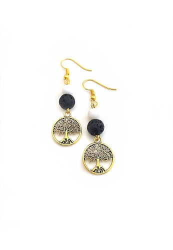 Trinkets for Keeps black and white Tree Drop Earrings D3B2AAC8A697DFGS_1
