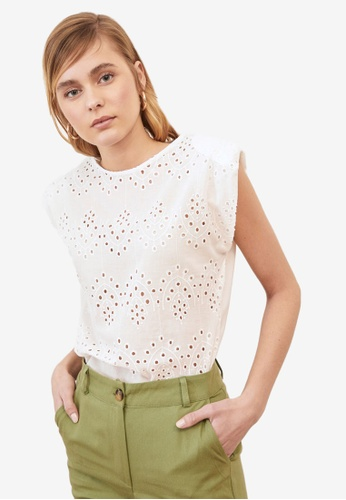 Trendyol white Eyelet Detail Sleeveless Blouse 145E0AAE2F7281GS_1