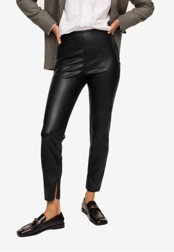 Mango black Faux Leather Leggings 1B0BDAAACFEE65GS_1