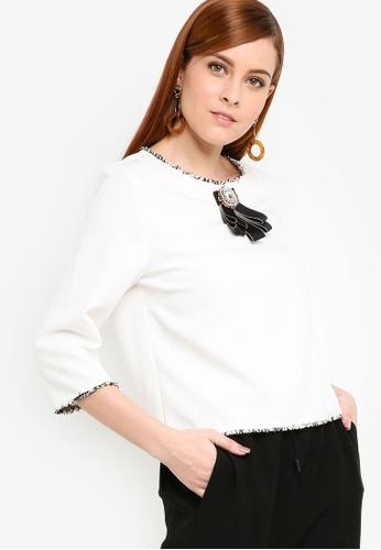 Zalia white Tweed Trim Crop Top 02A62AAD486EBEGS_1