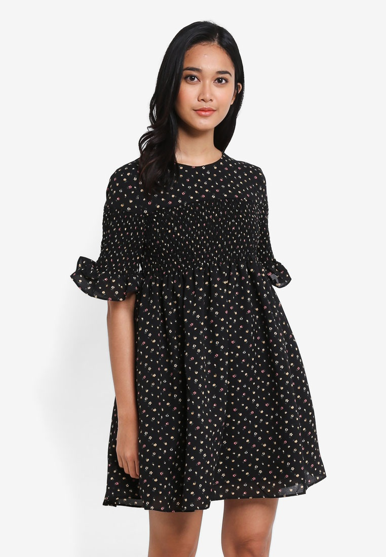 Floral Smock Print Dress Babydoll Detail Borrowed Something Black S67qTSw