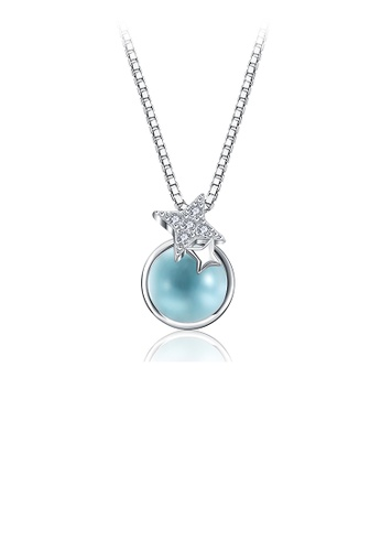 Glamorousky white 925 Sterling Silver Simple Fashion Star and Light Blue Glass Bead Pendant Necklace D3197AC47A9734GS_1