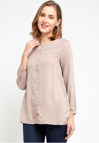 ULTRAVIOLET brown Sweet Blouse EB0DCAA2536DDBGS_1