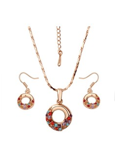 Treasure by B&D S002 Circle Shape Colorful Czech Drilling Necklace & Earrings Party Jewellery Set