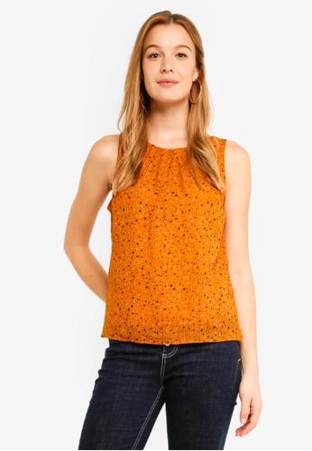 Vero Moda orange Yvonne Chif Sleeveless Top 947D6AAC34D42CGS_1