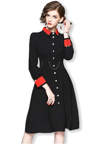 Sunnydaysweety black 2017 F/W Black Button-Down Long Sleeves Midi Dress UA092005 SU219AA0FXIQSG_1