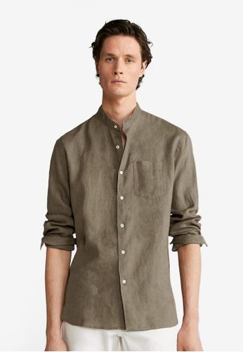 Mango Man green Regular Fit Linen Shirt 5ED72AA218B92DGS_1