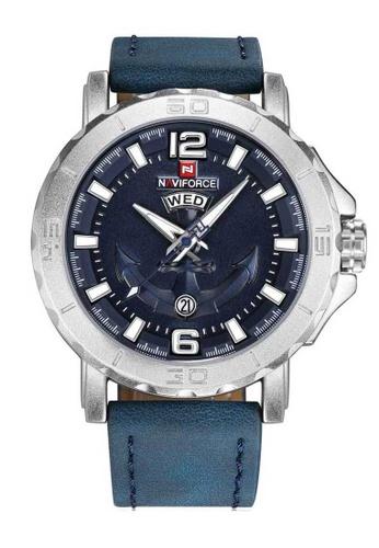 Naviforce blue Naviforce Silver and Blue Leather Watch FB0B7AC4BA9BBEGS_1