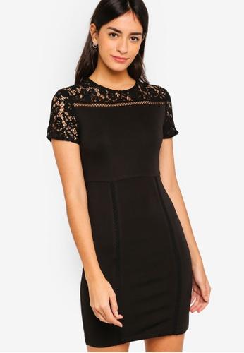 ZALORA black Lace Scuba Dress 5F07AAA2023908GS_1