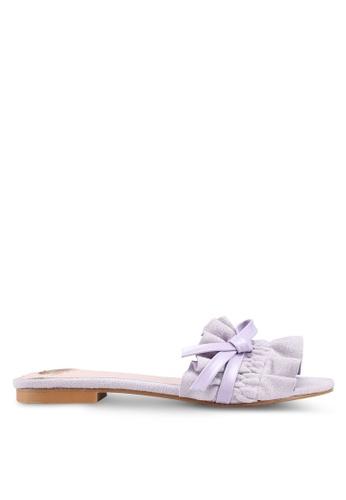 Velvet purple Ruffled Band Sandals A5588SHD334BFAGS_1