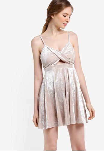 Miss Selfridge beige Petite Velvet Skater Dress MI665AA06YBXMY_1