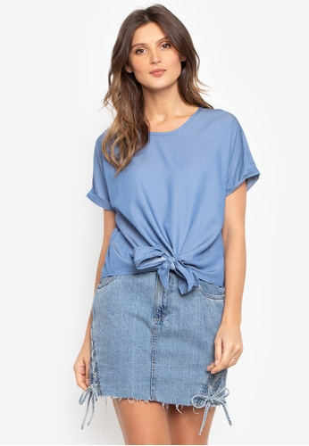 Fablook Clothing blue Extended Sleeves Tie Front Top 9E349AA49E19BCGS_1