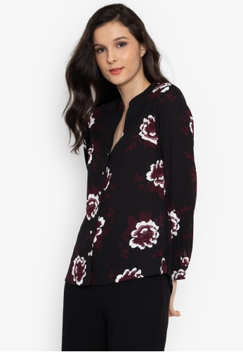 c73880a32084c9 Shop Dorothy Perkins Black Floral Roll Sleeve Shirt Online on ZALORA ...