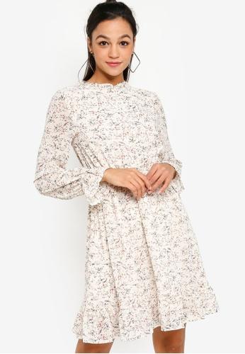 Something Borrowed white and multi Smocked Waist Long Sleeve Chiffon Dress 9FB7CAA6808C2BGS_1