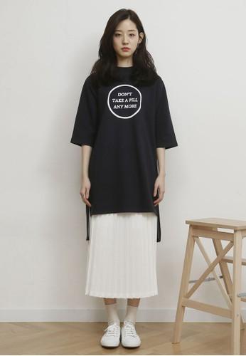 韓式風格文字撞色褶飾連身裙esprit outlet台北, 服飾, 洋裝