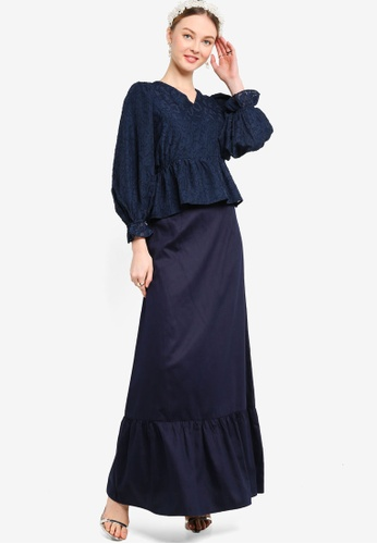 Lubna navy FRILL WRAP TOP 5D61EAA462FA49GS_1