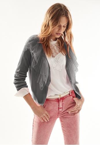 iROO grey Knitted Cardigan With Mesh Ruffle 343A7AA4ECE6F8GS_1