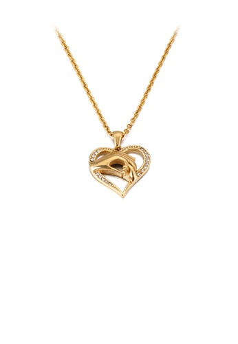 Glamorousky white Fashion and Elegant Plated Gold Holding Hands Heart-shaped 316L Stainless Steel Pendant with Cubic Zirconia and Necklace AF97EAC80129C3GS_1