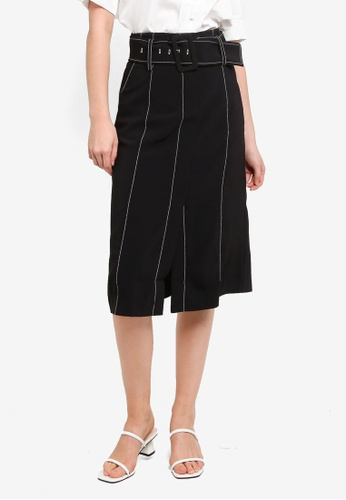 Hopeshow black Contrast Stitch Front Slit Midi Skirt 01D38AAE9972FBGS_1