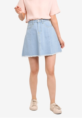 ZALORA BASICS blue Basic Denim Skirt 8FCF3AA96F0BB8GS_1