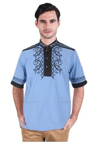LGS blue LGS - Slim Fit - Baju Koko - Lengan Pendek - Motif Bordir -