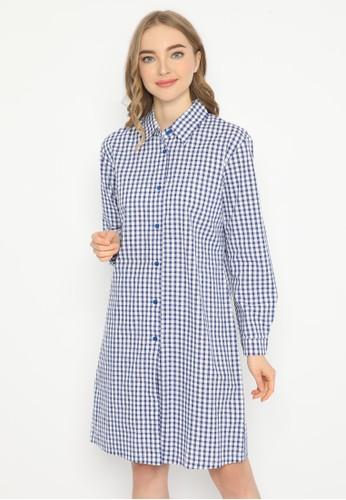 MINEOLA blue MINEOLA Shirt Collar Midi Dress Blue D10B3AA4AD073AGS_1