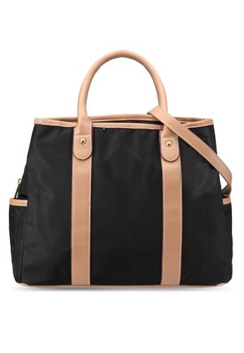 shop nuveau pu trimmed nylon multi compartment top handle bag online