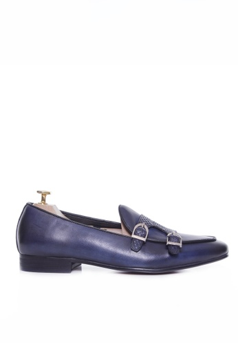 Zeve Shoes blue Zeve Shoes Belgian Loafer - Electric Blue Snake Skin Double Monk Strap (Hand Painted Patina) 9CFCESHE8BE4DBGS_1