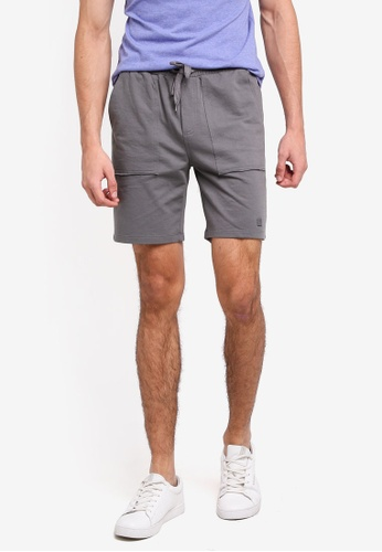 Penshoppe grey Mid Rise Knit Shorts With Drawstring 32FCDAAF697925GS_1