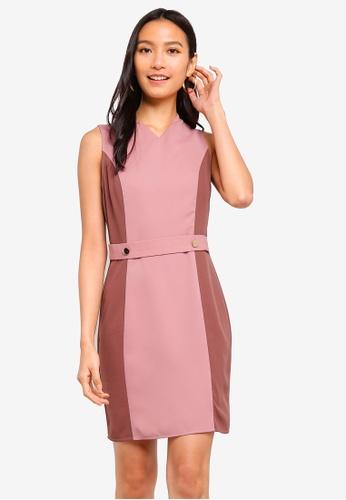 ZALORA 粉紅色 Button Detail Contrast Sheath Dress CD044AA96CA4B6GS_1