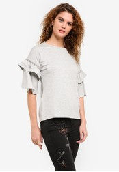 Dorothy Perkins grey Embellished Frill Sleeve Top DO816AA0RPH8MY_1