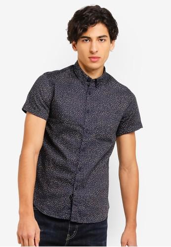 Electro Denim Lab blue Printed Short Sleeve Button Down Shirt 4739FAAD760E14GS_1
