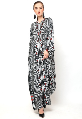 Kanzi by liza yahya black and white Kanzi Long Sleeve Monochrome Ethnic Kaftan 43DEBAA6528735GS_1