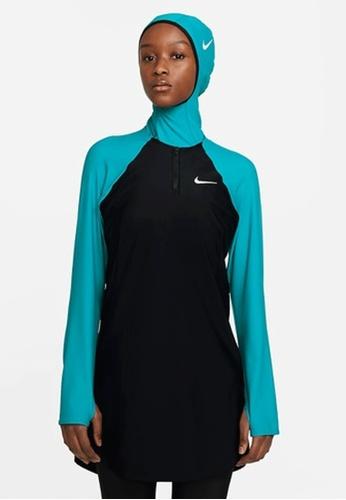Nike black and blue Nike Swim Women's Color Surge Long Sleeve Tunic 232DFUS1BB7E1AGS_1