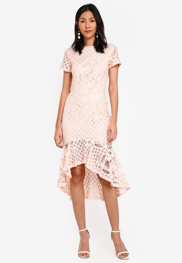 MDSCollections Light Light Pink Pink Dress In Lace Asymmetric wqa118