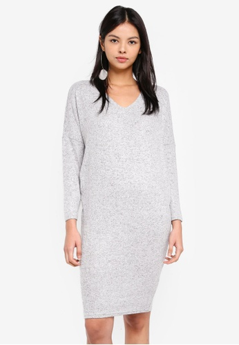 ONLY grey and white Maye V-neck Dress 61A36AA45374B5GS_1