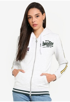 e9ae0971 Superdry white Vintage Logo Entry Zip Hoodie 509A8AA264BBB3GS_1