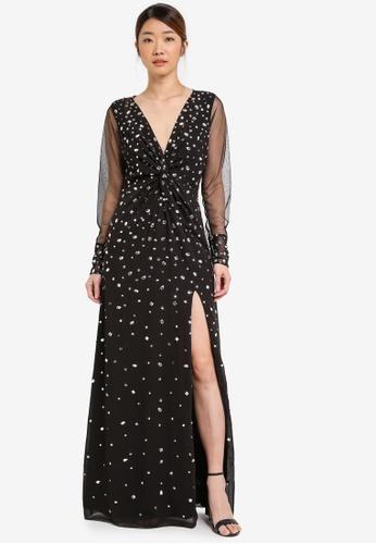 Miss Selfridge black Premium Black Plunge Twist Maxi Dress MI665AA0T093MY_1