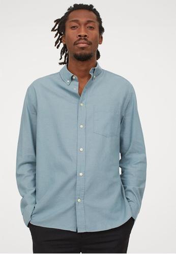 H&M green and blue Long-Sleeved Shirt BDDADAA0093792GS_1