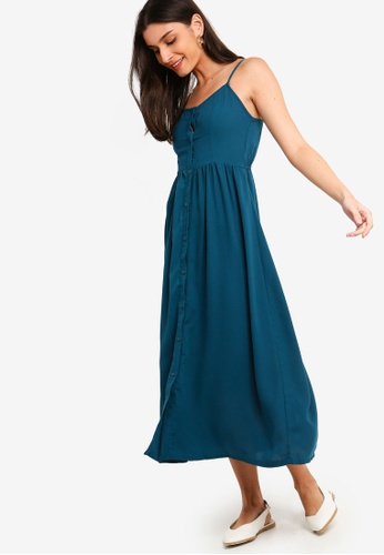 25a124260ebc ZALORA green Self Tie Strap Button Down Midi Dress 04BCCAA58B882AGS 1