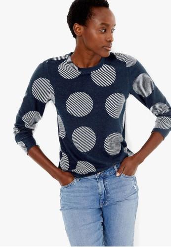 MARKS & SPENCER navy Cosy Polka Dot Straight Fit Sweatshirt FA37BAAD785C32GS_1