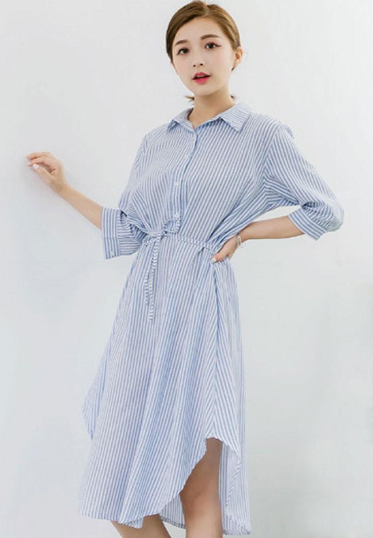 Oversized Pinstriped Shirt Dress