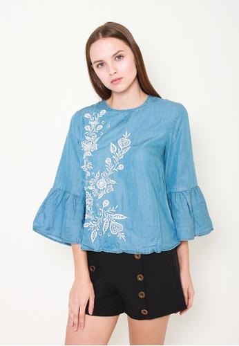 Leline Style blue Camilla Embroidery Blouse C35F7AA2EDA17DGS_1