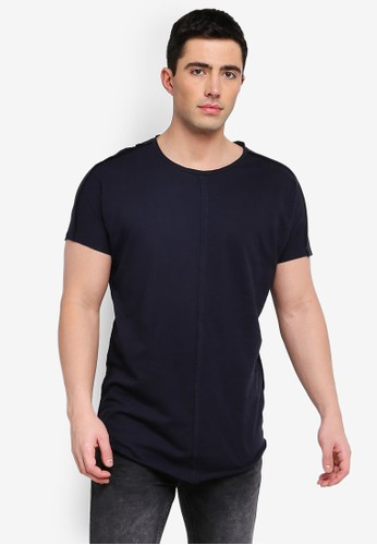 Only & Sons navy Earl Raw Longy Tee 985EFAAEBD5F6FGS_1