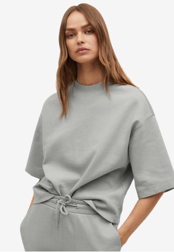 Mango grey Short Sleeve Cotton Sweatshirt F4CDBAABC34038GS_1