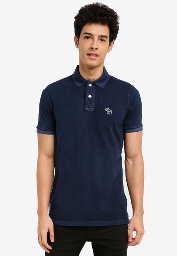 Abercrombie & Fitch navy Throwback Core Polo Shirt 7567AAA004B151GS_1