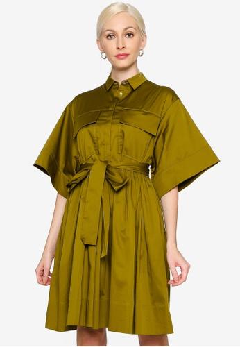 Hopeshow green Wide Cuff Button Top Knee Length Dress 4E65BAA6C02451GS_1
