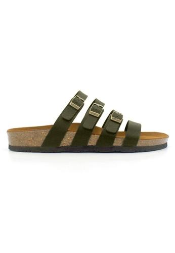 SoleSimple green Kingston - Khaki Leather Sandals & Flip Flops E075BSHBAEBF0BGS_1