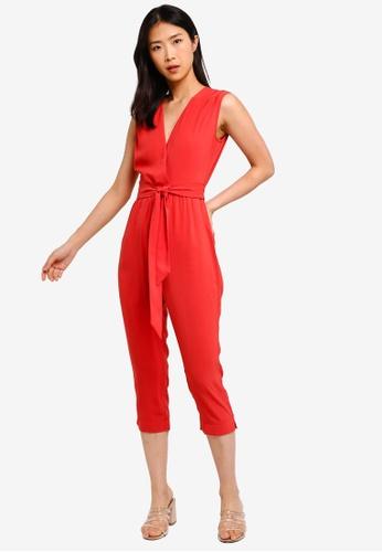ZALORA BASICS orange Basic V-Neck Tie Waist Jumpsuit 382F8AA9B2F965GS_1