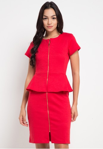 EDITION red Gold Zipped Dress C9157AA2AB86B2GS_1
